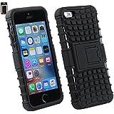 Emartbuy® Apple iPhone SE Tough Robuste Heavy Duty Schutz Hülle mit eingebautem Ständer Schwarz / Schwarz
