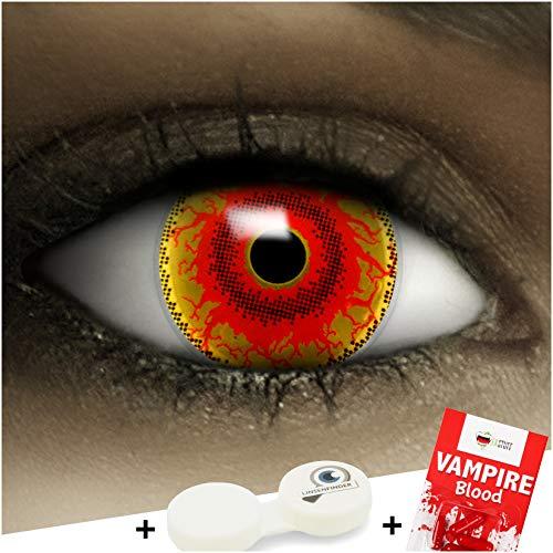 Farbige Kontaktlinsen Red Monster MIT STÄRKE -5.00 + Kunstblut Kapseln + Behälter von FXCONTACTS in rot, weich, im 2er Pack - perfekt zu Halloween, Karneval, Fasching oder Fasnacht