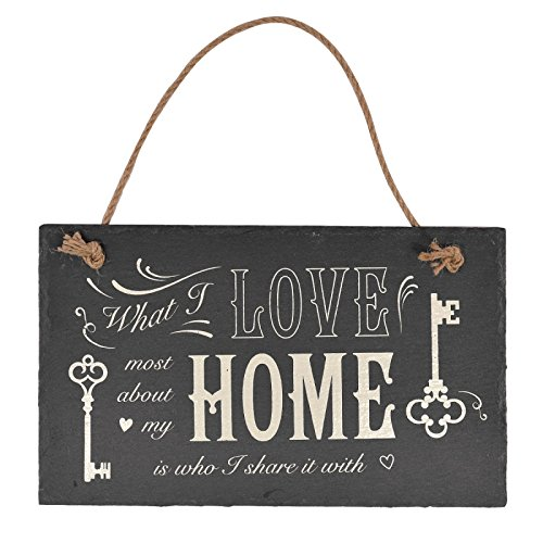 What I Love Most about my Home – Schiefer Schild zum Aufhängen (Home Schilder)