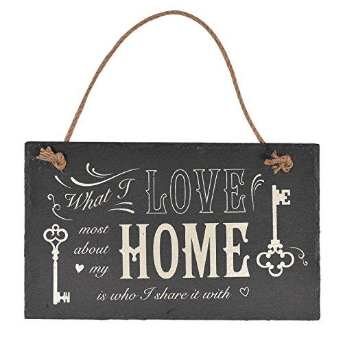 What I Love Most about my Home–Schiefer Schild zum Aufhängen (Home Schilder)