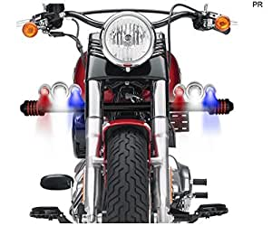 PR Bike Fog Lamp CREE Triple LED Aux Lights Set of 2 Silver High Beam,Low Beam,Flashing Modes LED Motorycle Fog Light Bike Projector Auxillary Spot Beam Light with and For Honda CB Twister Kick Drum Alloy
