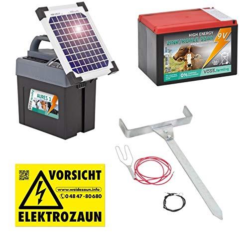 VOSS.farming Duo Weidezaungerät Premium SOLAR - 12V, 9V inkl. Batterie, Solar, komplettes Zubehör zum Anschluss - Sparen Sie sofort Geld !