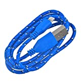 Shot Case - Cable Tresse 3m pour IPHONE 7 Chargeur Connecteur Lighting USB Apple Tissu Tisse Lacet Fil Nylon (Couleur Bleu)