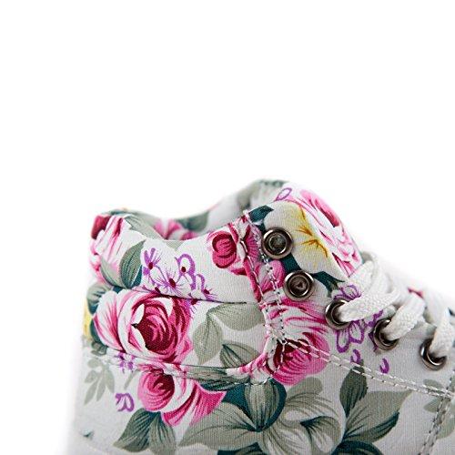 Gaorui Baby Mädchen High-top Sneakers Schnürhalbschuhe mit Blumen Druck 2 Farben Beige
