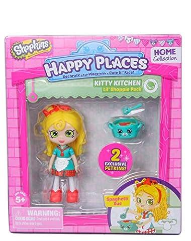 Shopkins – Happy Places – Kitty Kitchen – Spaghetti Sue – Set 2 Mini Figurines Petkins + 1 Mini Poupée