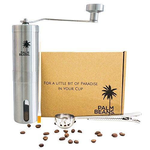 Palm Beans Hand-Kaffeemühle aus Edelstahl - Manuelle Kaffeemühle - Kegelmahlwerk aus Keramik -...