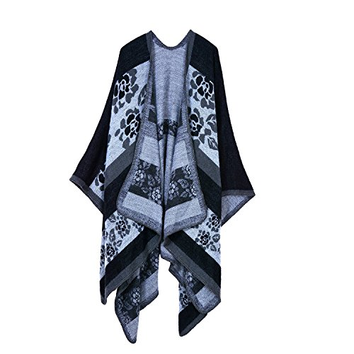 Kadcope Women Shawl Scarf, Women Winter Poncho Capes Wraps Shawl Cardigans Sweater Coat Scarves Stoles Flower Black
