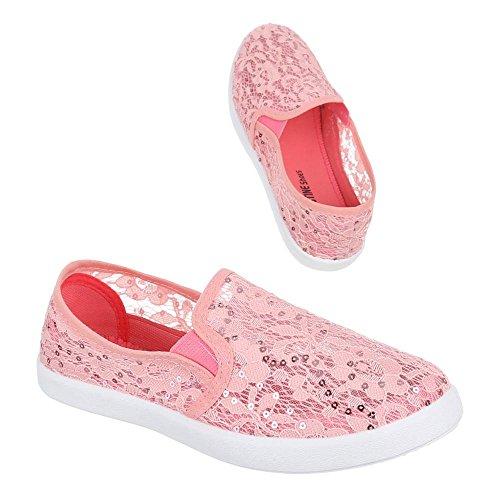 Damen Schuhe, AC-39, HALBSCHUHE SLIPPER MIT SPITZE Rosa AC-38-