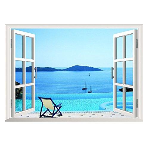 Fresco y Limpio 3D Pegatinas Pared Extraíble PVC Decoración de Hogar Habitacion Sala Tipo de Playa Mar Ventana