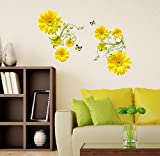 PRINTELLIGENT Flowers Yellow Daisy with Green Vine Wall Sticker (PVC Vinyl, 50 cm x 70 cm)