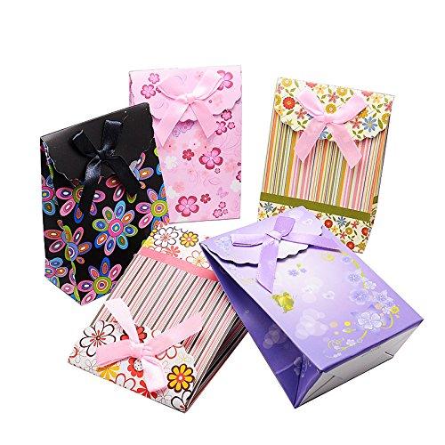 Pandahall Elite 60pcs Sacs en papier avec ruban Nœud Motif, couleurs mélangées, 16.3x 12.3cm