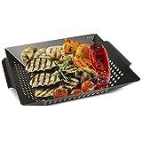 Zobel Grillkorb - Eisen Gemüsekorb für perfekt gegartes & gebräuntes Gemüse, Fleisch und Fisch - Universeller, gelöcherter Grillwok geeignet für alle Arten von Grills I Gemüseschale I Gemüsepfanne 36 x 31 x 6 cm