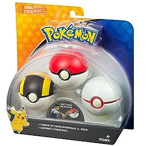 """Pokemon """"Throw N Catch"""" - Pokebolas (paquete de 3 bolas multicolor)"""