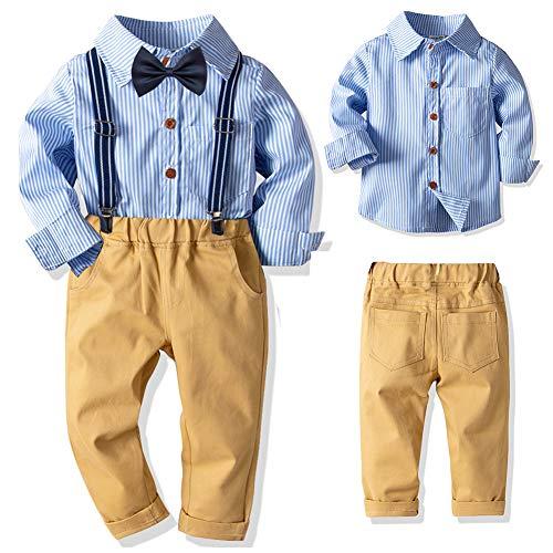 SANMIO Baby Jungen Bekleidungssets, Hemd + Hose + Fliege Krawatte Kinder Anzug, Gelb, Gr.- Etikette 110/Körpergröße 100-110 CM