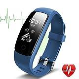 Fitness Tracker ID 107 Plus HR, Tigerhu Smart Armband Activity Tracker Schrittzähler Uhr Fitness Health Smartwatch Armband mit Herz Rate Monitor, Schritt Tracker, Sleep Monitor, Kalorienzähler, GPS Anschluss, Wetter für Android und IOS.