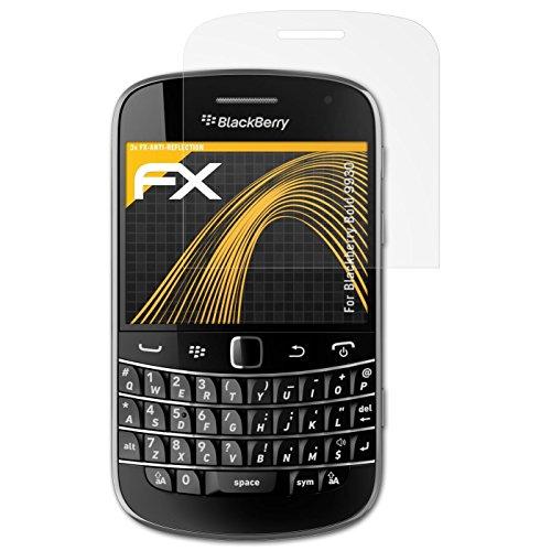 atFolix Panzerfolie kompatibel mit BlackBerry Bold 9930 Schutzfolie, entspiegelnde und stoßdämpfende FX Folie (3X) Blackberry Bold Screen Protector