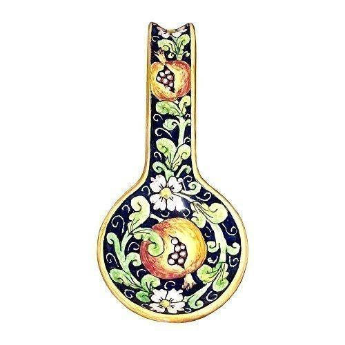 CERAMICHE D'ARTE PARRINI- Ceramica italiana artistica , posamestolo decorazione melograno , dipinto a mano , made in ITALY
