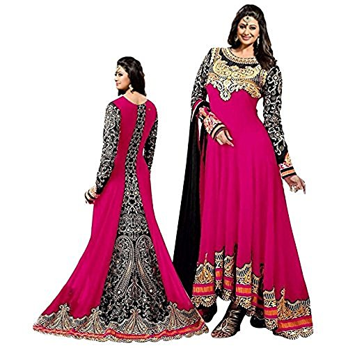 Women's Pink Color Georgette Embroidered Long Anarkali Semi-Stitched Salwar Suit  available at amazon for Rs.1099