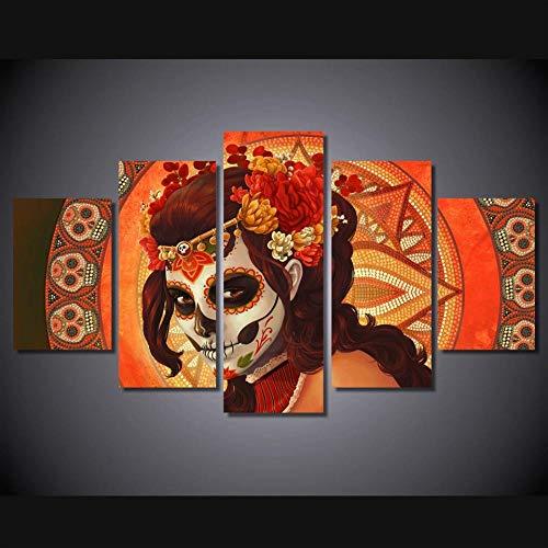 ruckt Tag der Toten Gesicht Gruppe Malerei auf leinwand 5 panels leinwand poster bild wohnkultur-16x24/32/40inch,With frame ()