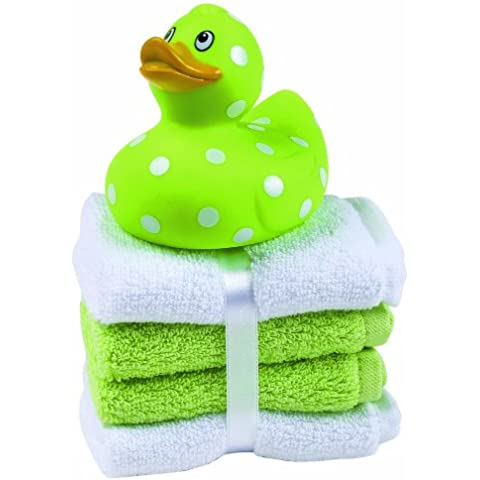 My First Rubber Duck (Green) with 4 washcloths