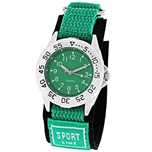 Pacific Time Kinder-Armbanduhr Klettarmband Sport Analog Quarz grün schwarz 21885