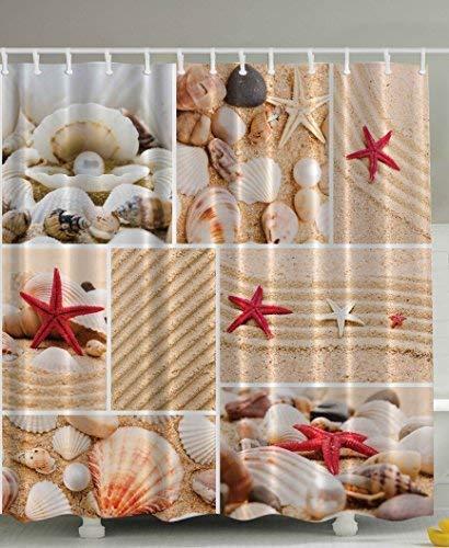 Khaki-seersucker (JIEKEIO Seaside Decor Sea Star Sea Rock Limpet Honeymoon Bathroom Art Prints Beach Shell Photos Print Aquatic Deluxe Fabric Shower Curtain Burgundy Sand Khaki Cream)