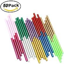 Ewparts 50 barras silicona caliente 7mm * 100mm Pegamento termofusible adhesivos coloreados del arma del pegamento caliente del arte del brillo del paquete (Glitter-50pcs)