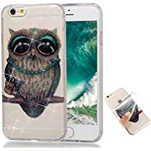 Funda iPhone 6/6s silicona Espumoso TPU Gato gris Bling Bling Glitter Transparente Super delgado suave carcasa de telefono Protección por Joytag
