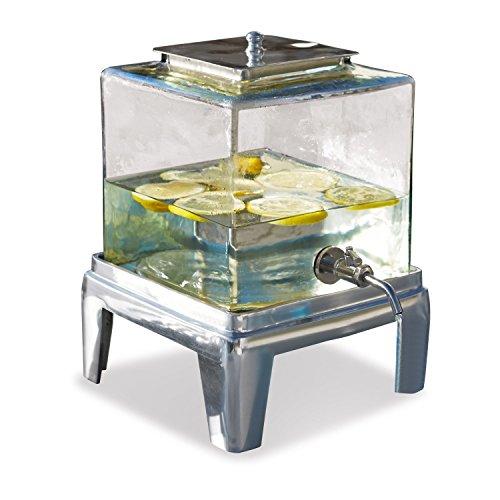 Loberon Getränkespender Osric, Glas/Aluminium, H/B/T ca. 33/22,5/22,5 cm, klar/silber