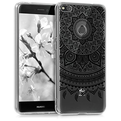 Kwmobile huawei p8 lite (2017) cover - custodia in silicone tpu per huawei p8 lite (2017) - backcover cellulare nero/trasparente