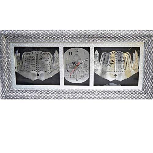 Aix Home GmbH Koran   Ayet Wanduhr   120x50 cm Silber   Wand Dekoration   Islam   Wandbild   Bild