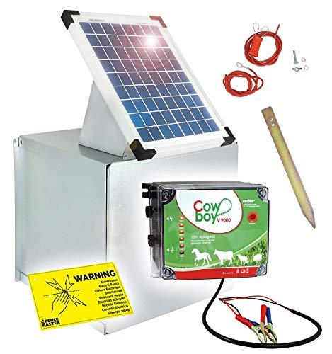 Weidezaungerät V9000 + Solarbox - Wahnsinnige 10 Watt - Lange Batterielaufzeit - Unser stärkstes 12V Gerät zum Kampfpreis