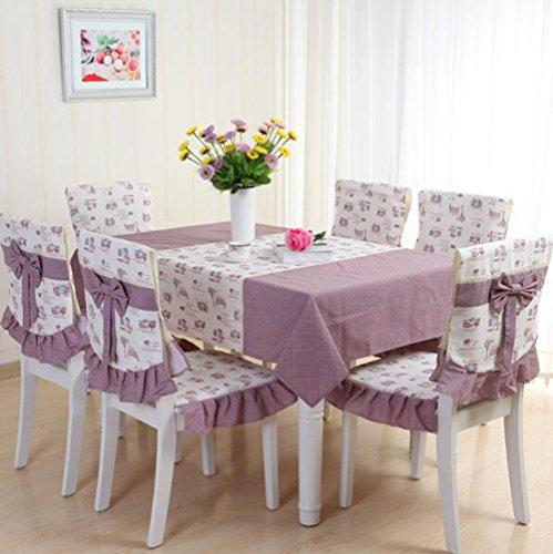 KIMSAI Baumwolle Leinen Haushalt Tischdecke, Tischdecke Stuhlabdeckung Stoff Tisch Und Stuhl Set Tuch Lila 130 * 180 Cm (1 Pad + 1 Zurück + Tischdecke)