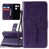 ISAKEN Compatibile con LG Nexus 5X Custodia, Libro Flip Cover Portafoglio Wallet Case Albero Design Tinta Unita Caso in Pelle PU Protezione Caso con Supporto di Stand/Carte Slot/Chiusura - Violet