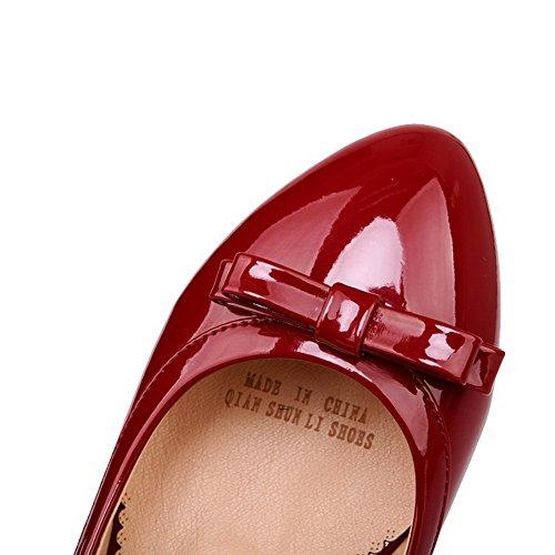 AgooLar Femme Tire Rond à Talon Bas Verni Couleur Unie Chaussures Légeres Rouge Vineux