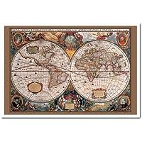 Mappa del mondo Poster stile del XVII secolo con inchiostro oro sughero Pin Lavagnetta Bianco Con cornice–96.5x 66cms (circa 96,5x 66cm)