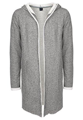 Sublevel Herren Sweat-Cardigan mit Kapuze | Strickjacke | Long Cardigan aus hochwertiger Baumwolle middle grey L