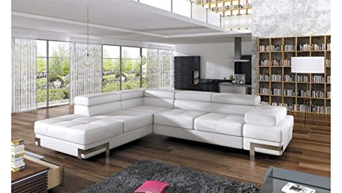 Justhome emporio divano angolare divano lettofinta pelle(lxlxa): 223x275x70-90 cm bianco penisola a sinistra