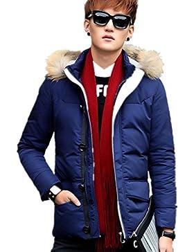 Engrosada chaqueta de invierno de los nuevos hombres del estilo por la chaqueta con capucha , blue , l