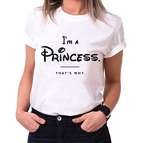 IŽm a Princess di Moda T-Shirt da Donna in Cotone con Stampa, Farbe2:Weiß;Größe2:S