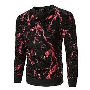 JUSTSELL Langarmshirts Pullover Herren Herbst Winter,Männer Blitzmuster-Druck Sweatshirt Rundhalsausschnitt T Shirt Casual Pullover Stilvoll Tops