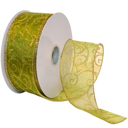 Morex Ribbon Swirl Wired Sheer Glitter Ribbon, 2-1/2-Inch by 50-Yard Spool, Spring Moss/Gold by Morex Ribbon -