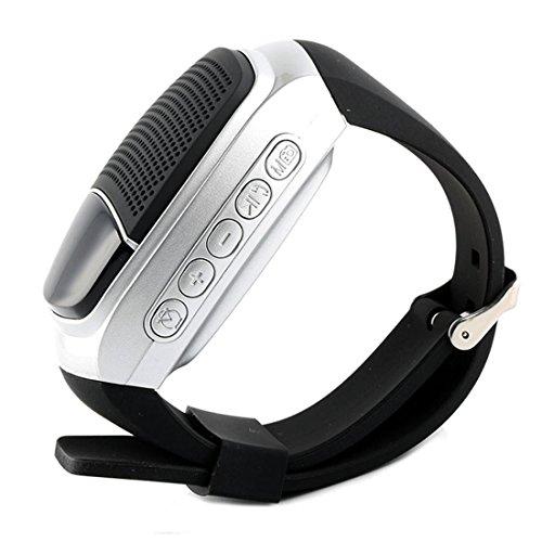 Preisvergleich Produktbild Leydee Smart Uhren Bluetooth Lautsprecher Stoppuhr Wecker Sport Musik Uhr Freisprechen Call TF Card Spielen FM Radio Selbstauslöser Anti-Lost Alarm Sport Watch ,  silver