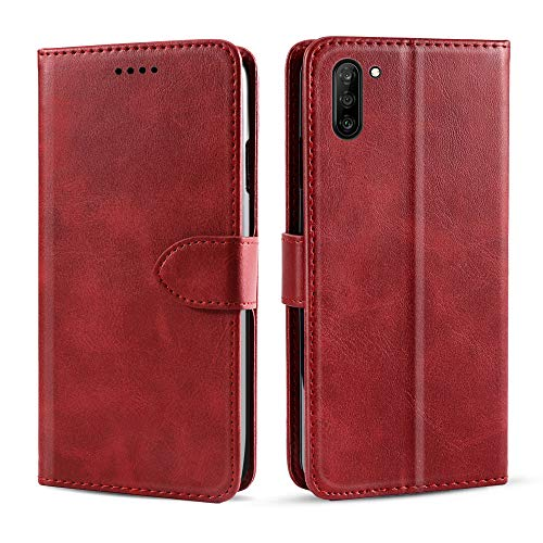qRGnhXUn for Samsung Galaxy Note 10 Case, [Extra Card Slot] [Wallet Case] PU Leather TPU Casing Leather Hüllen [Drop Protection] Cover for Samsung Galaxy Note 10, Red -