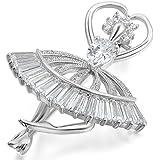 Jewelrywe Joyería Precioso Broche Plateado Alfiler con Diamantes de Imitación Atractivo, Bailarina Angel Elegante Novia Broche Pin para Vestido, Regalo de Navidad