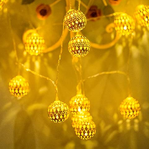 Uping battery operated Fairy Lights 2 Mode String light 12 Maccro Ball Globe 2.4M Warm White for Indoor Outdoor Party Garden Christmas Halloween Wedding Home Bedroom Yard Deck