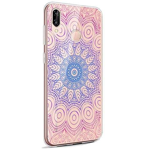 Surakey Coque Compatible avec Huawei P20 Lite Housse Silicone Etui,?ui TPU Silicone Souple Coque Clair Transparent Cover Ultra Mince Soft Case Housse Protection pour Huawei P20 Lite (Mandala)