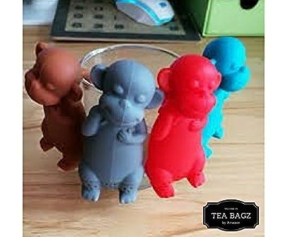 TEA-BAGZ/ Lot de 2 Infuseurs de Thé en forme de Singe Rouge / Idéal pour une infusion Bio/Tisane/Thé vert/ Accessoires Cuisine/ Diffuseur à Thé Original/ Diffuseur à Thé de Haute Qualité