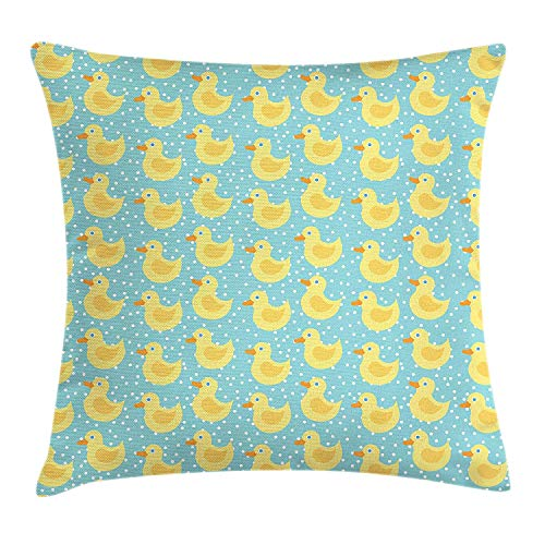 Trsdshorts Duckies Throw Pillow Cushion Cover, Abstract Cartoon Style Illustration Blue Eyed Rubber Ducks with Dotted Background, Decorative Square Accent Pillow Case, 18 X 18 inches, Multicolor - White Eyed Ducks