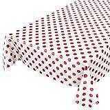 ANRO Wachstuchtischdecke Wachstuch Wachstischdecke Tischdecke Rot Weiß Tupfen Punkte Gepunktet Dots 220 x 140cm